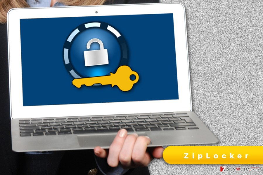 The illustration of ZipLocker ransomware