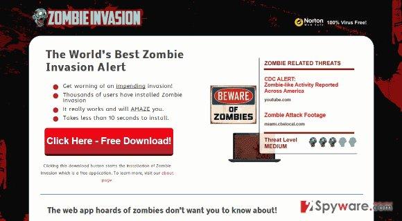 Zombie Invasion adware snapshot