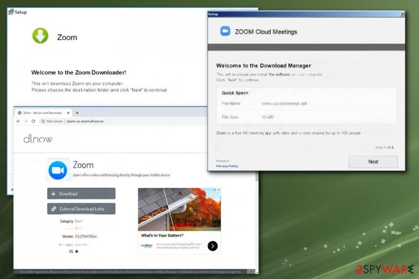 Zoom virus versions: malicious site