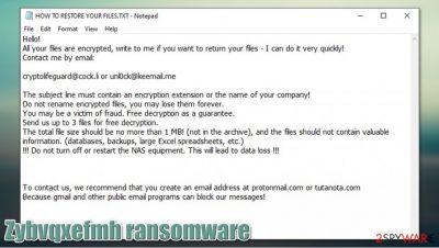 Zybvqxefmh ransomware