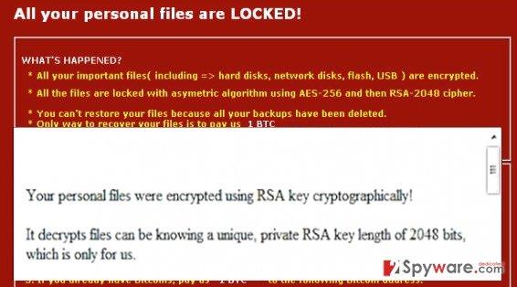 The ransom note of Zyklon Locker virus